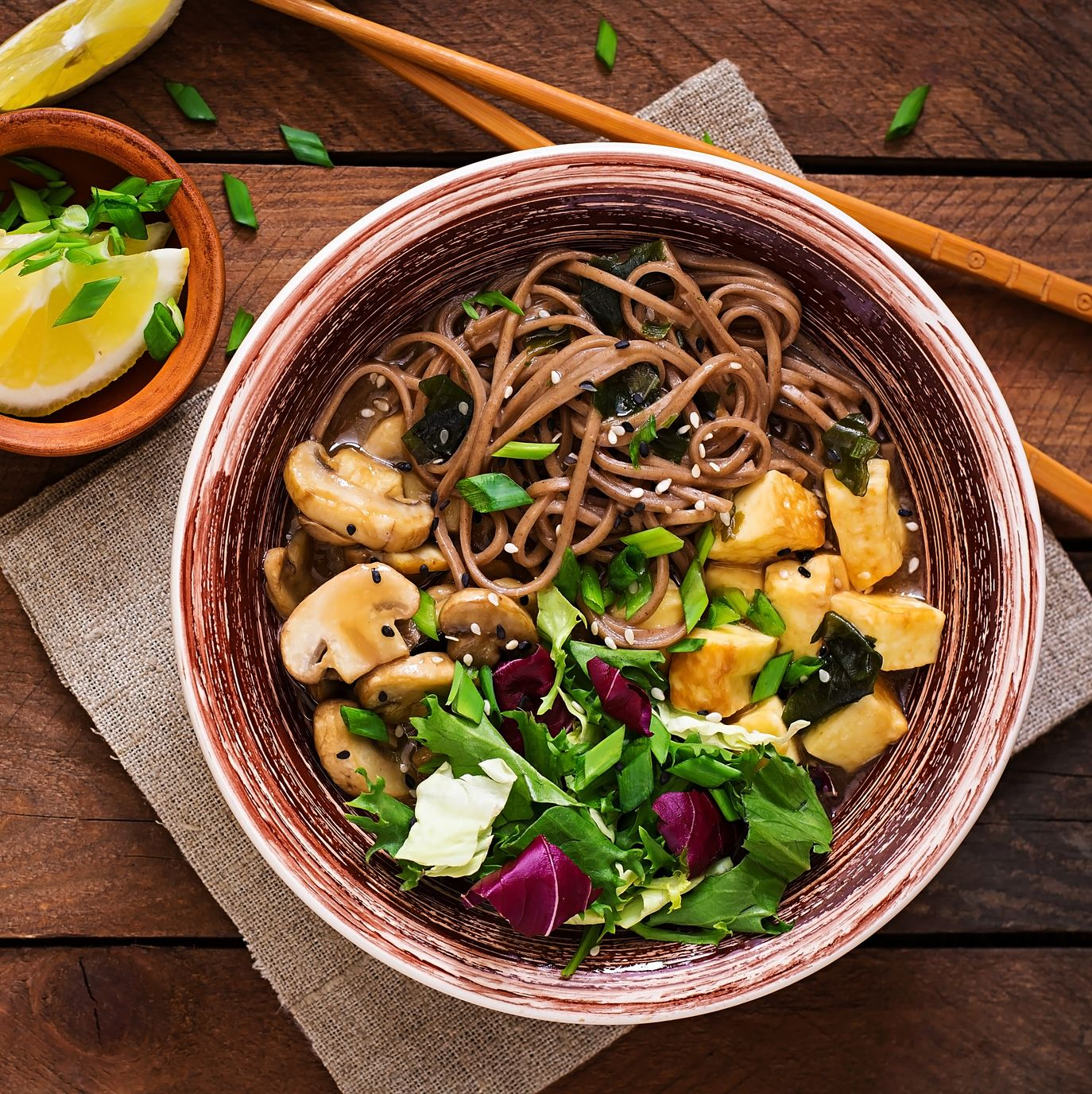 miso and soba noodle soup