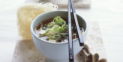 Miso soup with glass noodles and tofu