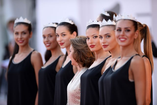 venice, italy   september 07  finalists of the miss italia 2018 contest pose on the red carpet ahead of the killing zan screening during the 75th venice film festival at sala grande on september 7, 2018 in venice, italy  photo by eamonn m mccormackgetty images