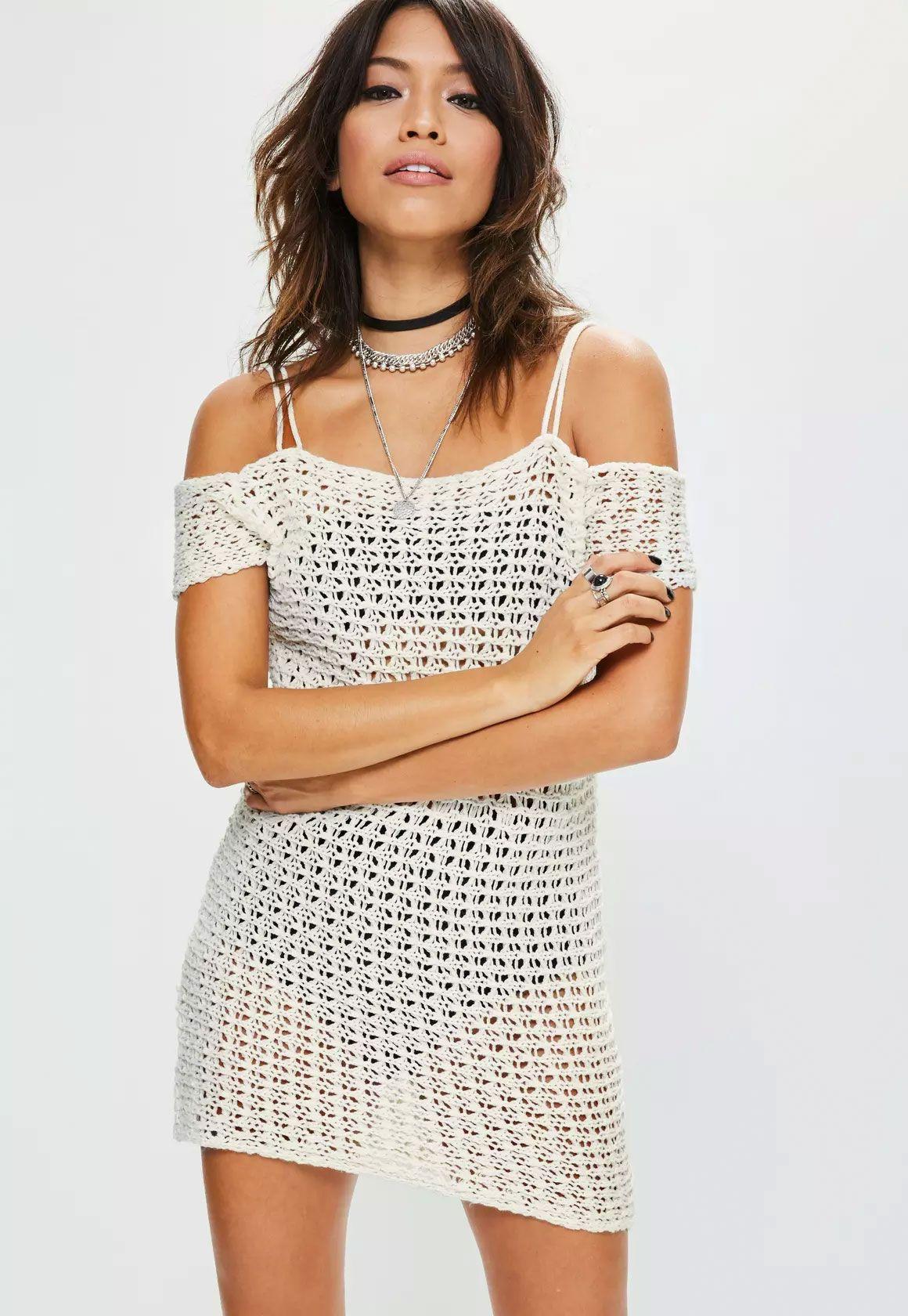 White crochet knitted supported bardot mini dress