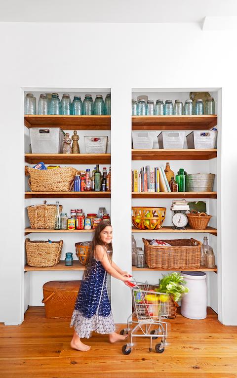 pantry organization with big bins