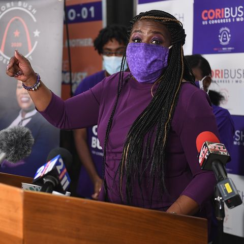 cori bush gives her victory speech at her campaign office on august 4, 2020 in st louis, missouri