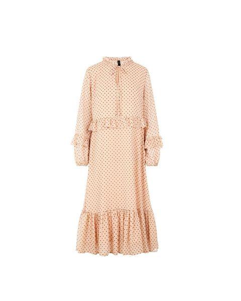 Clothing, Outerwear, Beige, Sleeve, Dress, Day dress, Cardigan, Robe, Neck, Peach,