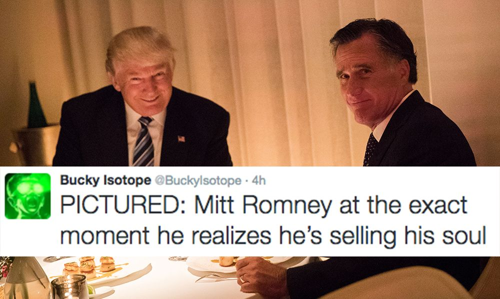 mitt romney donald trump 2 1480491156?crop=1.00xw 0.839xh;00.0108xh&resize=768 * people are roasting mitt romney over this picture with donald trump