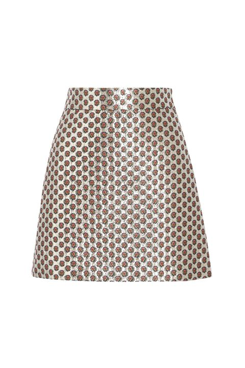 Clothing, Pattern, Beige, A-line, Polka dot, Design, Skort, Shorts, Waist, Circle,
