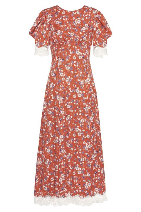 miu miu satin maxi floral dress red