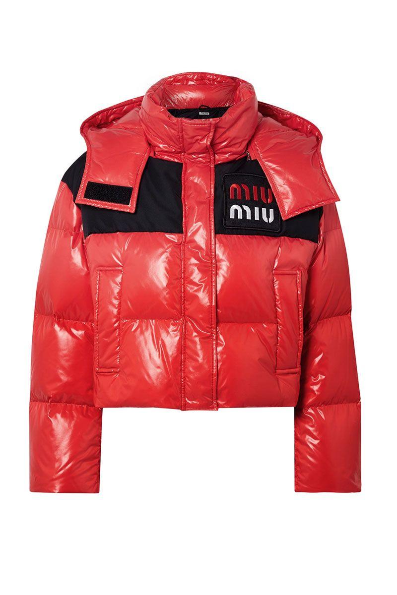 Miu Miu women's red puffer jacket - red shiny puffer jacket