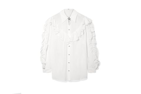 White, Clothing, Sleeve, Outerwear, Collar, Shirt, Button, Dress shirt, Blouse, Top,