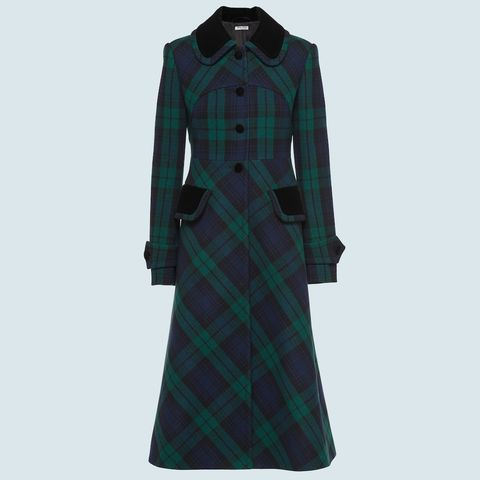 miu miu green and blue tartan coat