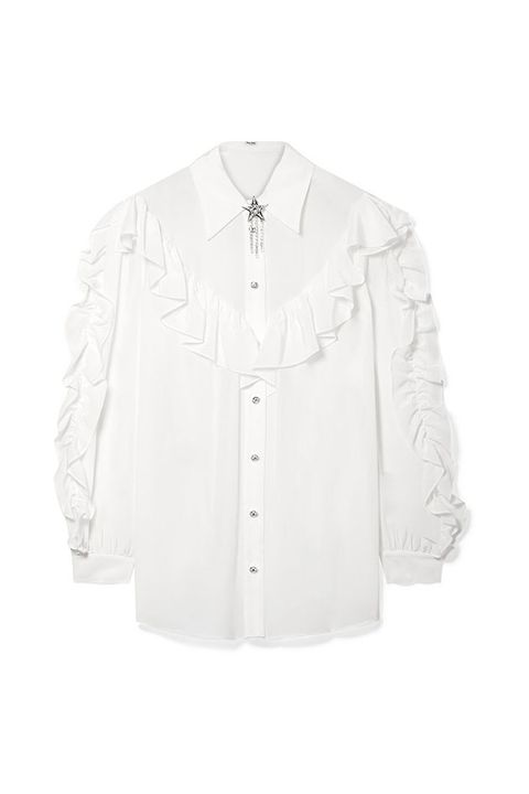 White, Clothing, Sleeve, Outerwear, Collar, Button, Blouse, Shirt, Formal wear, Top,