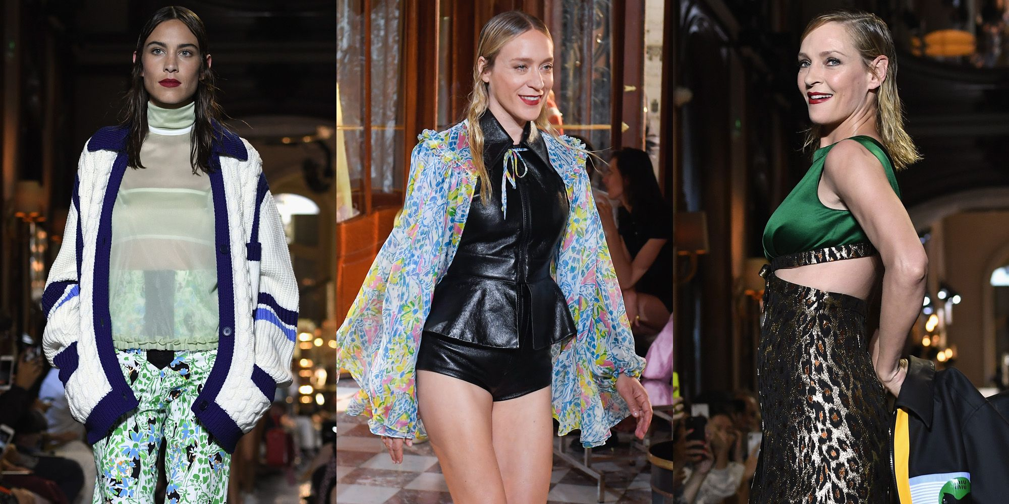 Miu Miu Cruise Resort 2019, celebrities, uma thurman, alexa chung, chloe sevigny