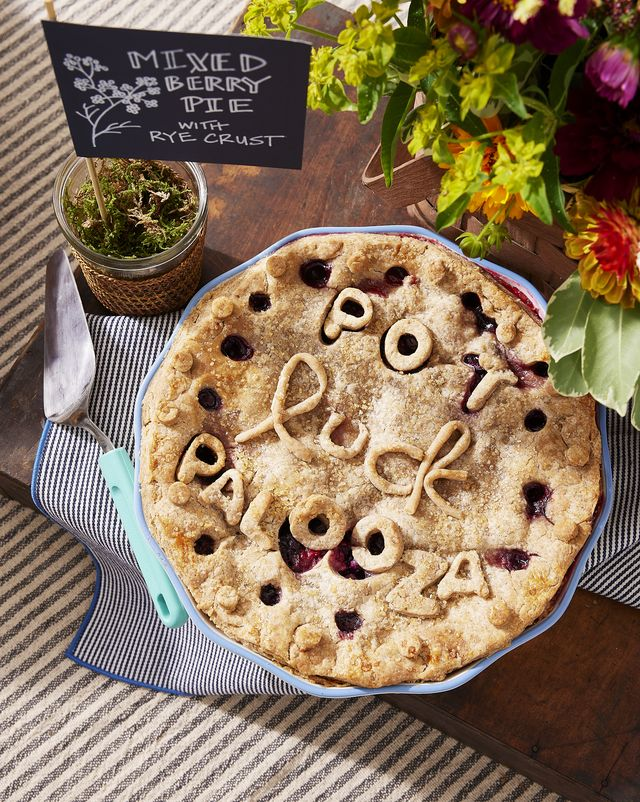 mixed berry pie with rye crust