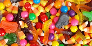 mixed halloween candy background