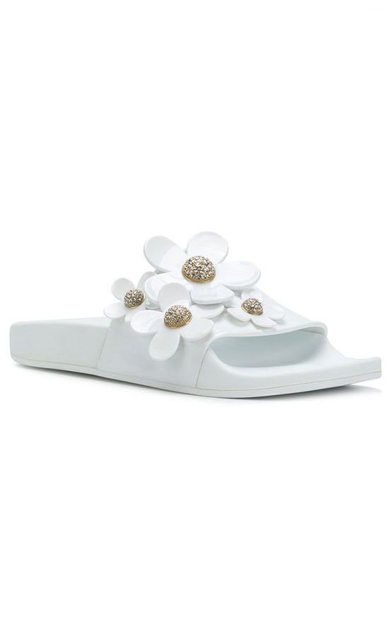 Marc Jacobs white daisy pool slide shoes