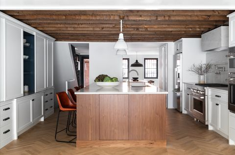 Countertop, Furniture, Cabinetry, Room, Kitchen, White, Ceiling, Interior design, Property, Wood flooring,