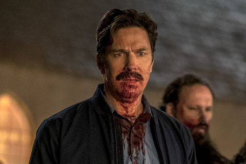 midnight mass l to r samantha sloyan as bev keane, michael trucco as wade scarborough and crystal balint as dolly scarborough in episode 107 of midnight mass cr eike schroternetflix © 2021