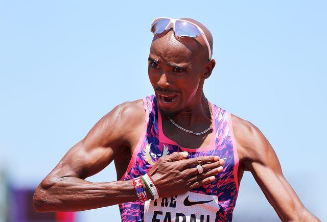 el atleta británico mo farah celebra una victoria en la prefontaine classic en 2017 y atacará el récord de la hora en bruselas