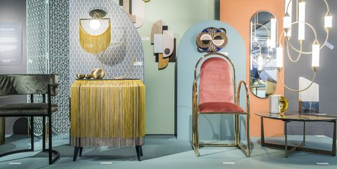 Display case, Display window, Room, Furniture, Interior design, Lighting, Boutique, Table, Chair, Building,