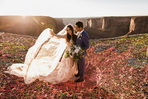 People in nature, Photograph, Bride, Dress, Wedding dress, Wedding, Ceremony, Bridal clothing, Photography, Gown,