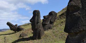 Moais seen on the outer slopes of Rano Raraku volcanic...