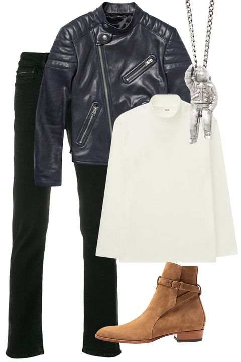 Clothing, White, Leather, Footwear, Leather jacket, Jacket, Boot, Fashion, Outerwear, Riding boot,