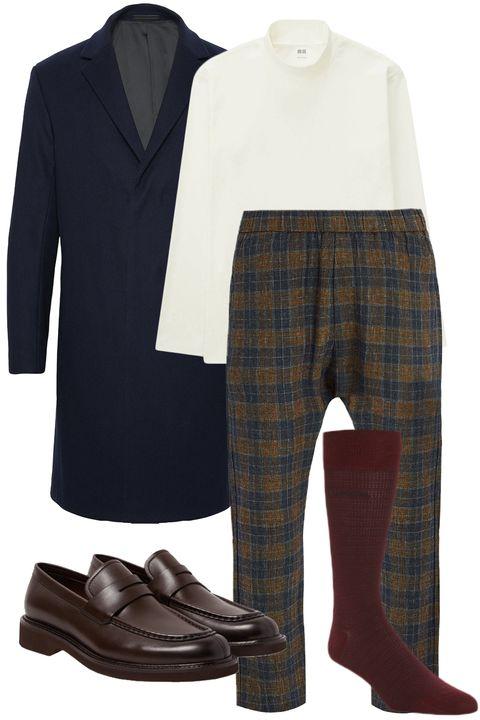 Plaid, Clothing, Tartan, Pattern, Footwear, Brown, Product, Design, Suit, Riding boot,