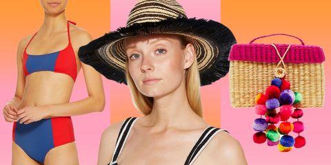 Clothing, Hat, Fashion accessory, Neck, Sun hat, Headgear, Swimwear, Sombrero, Bikini, Ear,