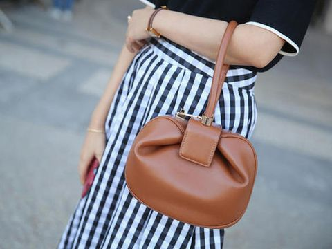 Brown, Product, Shoulder, Bag, Textile, Joint, Pattern, Style, Luggage and bags, Street fashion,