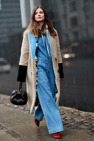 Clothing, Street fashion, Jeans, Fashion, Coat, Denim, Outerwear, Fur, Trench coat, Footwear,
