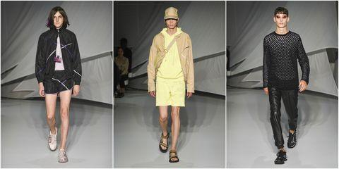 Fashion model, Clothing, Fashion, Runway, Fashion design, Outerwear, Footwear, Shoulder, Human, Fashion show,