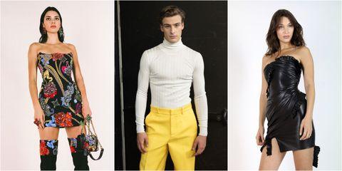 Clothing, Fashion model, Shoulder, Fashion, Yellow, Neck, Waist, Dress, Joint, Model,