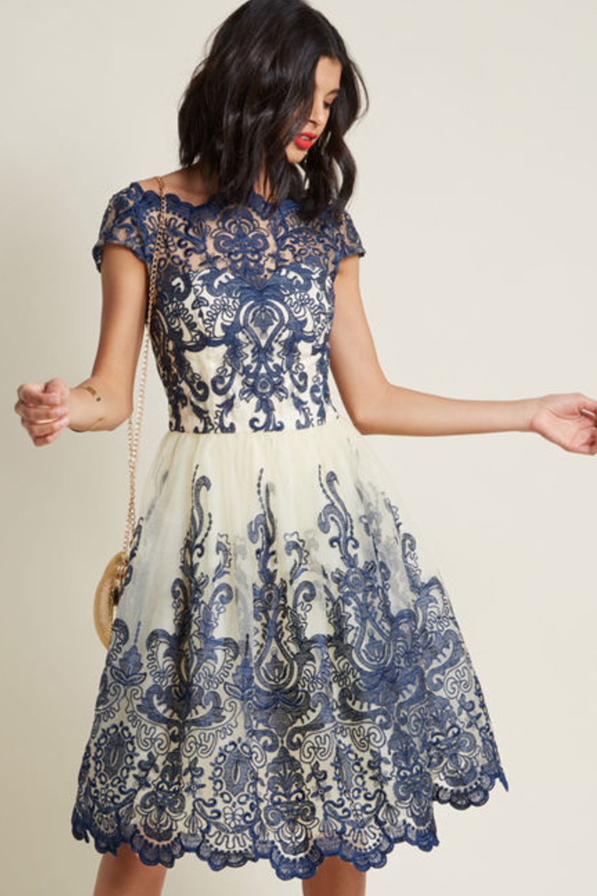 modcloth navy lace dress