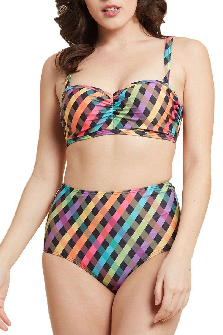 modcloth multi high waist bikini
