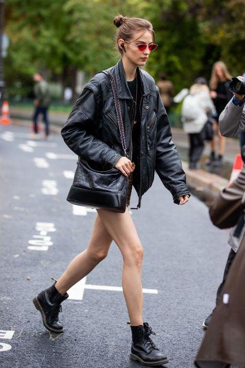 Street fashion, Photograph, Fashion, Clothing, Footwear, Jacket, Snapshot, Leather jacket, Leather, Outerwear,