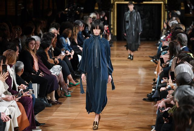 a model at stella mccartney's most recent show in paris, for fall 2020