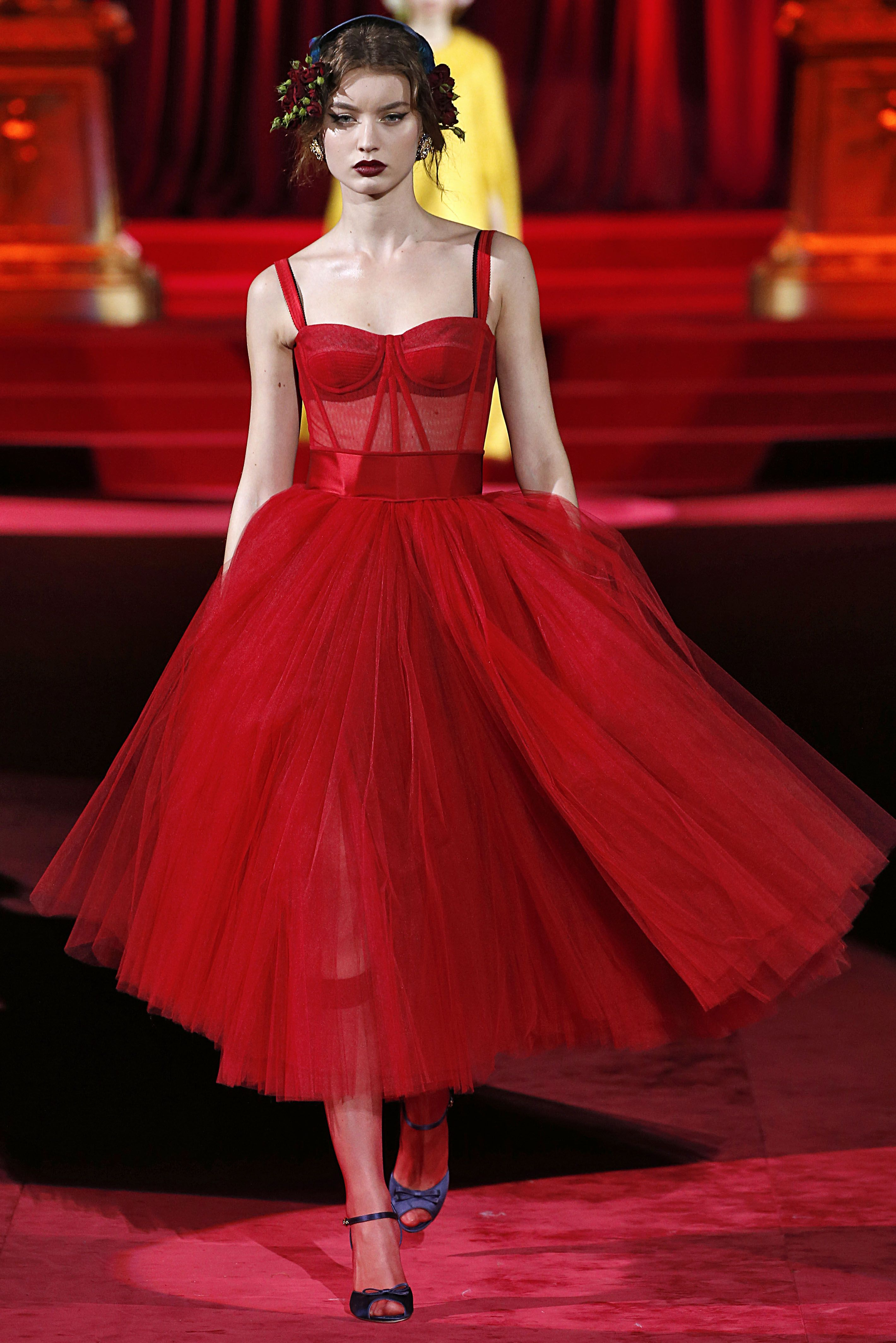 Emilia Clarke Wears Red Sheer Dolce