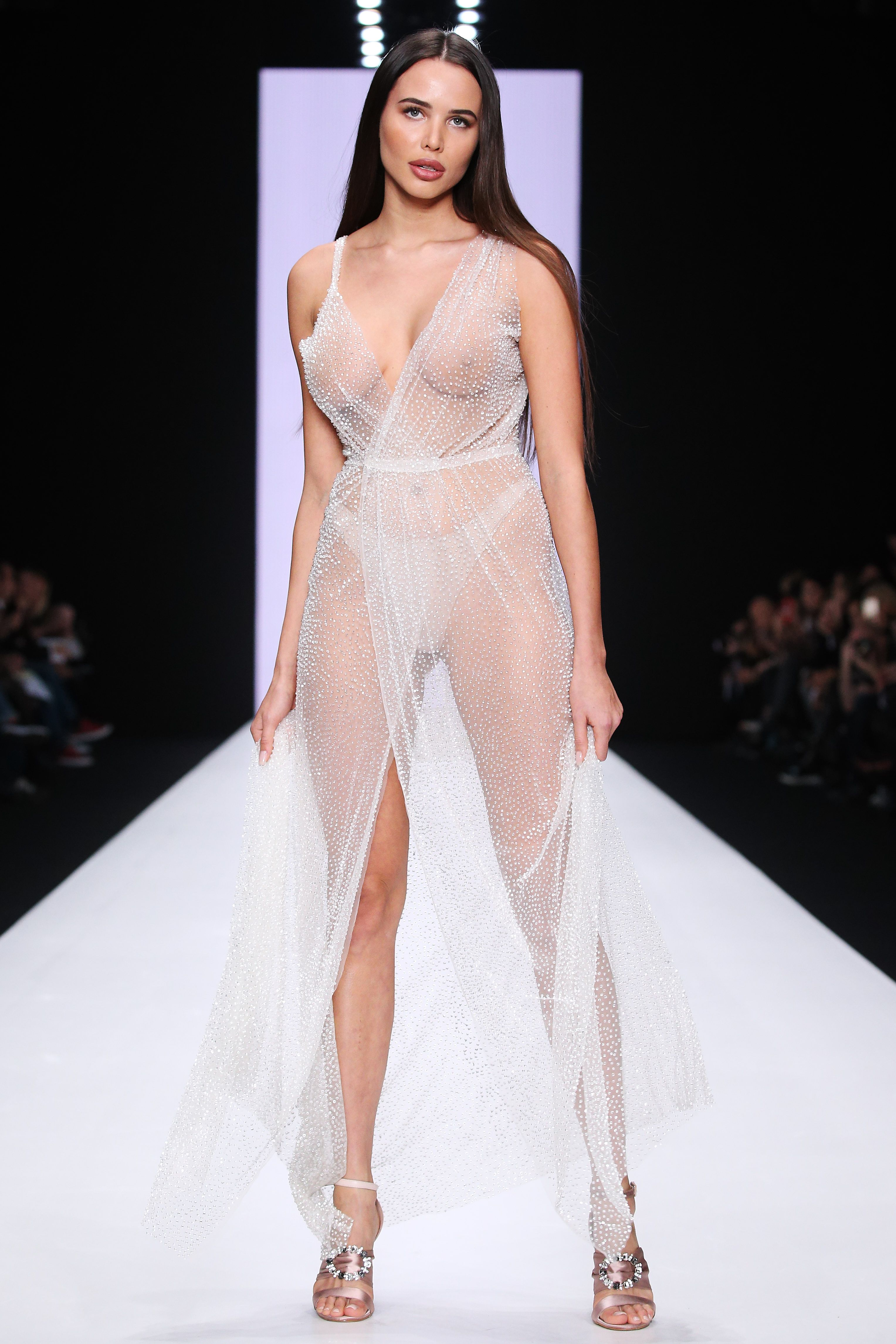 This dress is so shimmery—and so sheer.