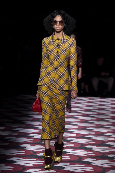 fall, paris fashion week, fashion week, designer, fall winter 2020, runway, fall trends, autumn, autumn trends, miu miu, plaid, yellow, sunglasses