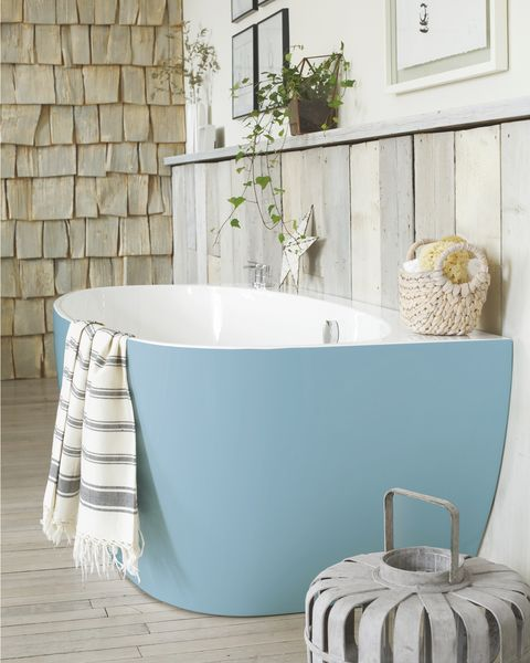 waters baths of ashbourne, cove back to wall bath in mid blue  ral 5024