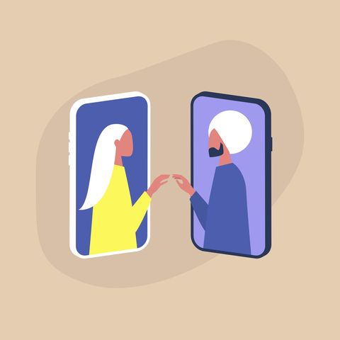 Modern dating service, two characters touching each other's hands through the smartphone screens