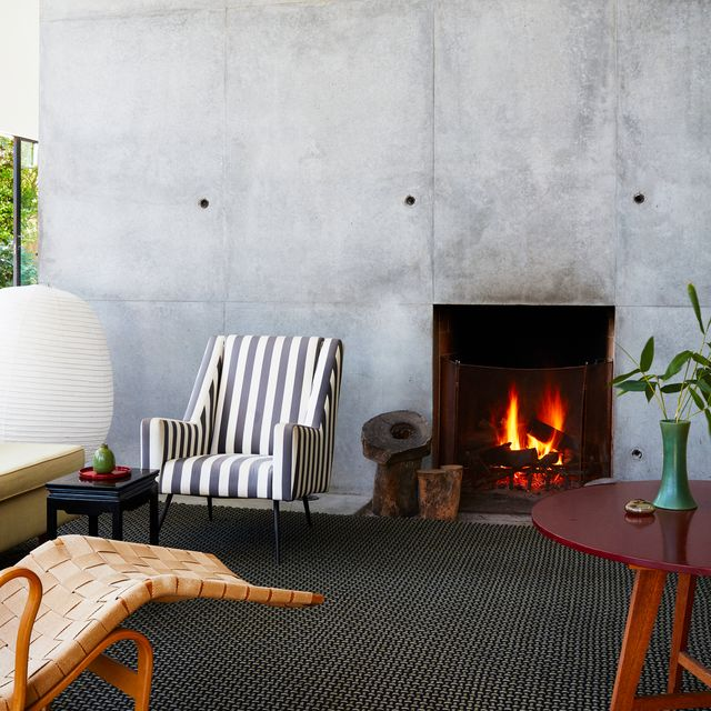 modern fireplace in living room