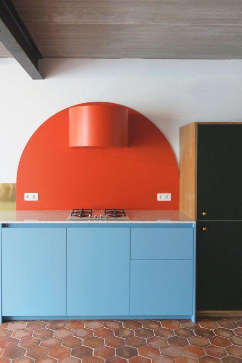 Orange, Room, Property, Furniture, Cabinetry, Interior design, Kitchen, Architecture, Countertop, Wall,
