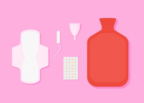 modern menstruation   absorbent, tampon, reusable period cup and hot water bottle