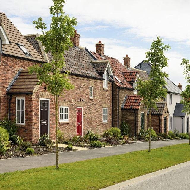 recently built brick houses of traditional design on a housing development in northern england