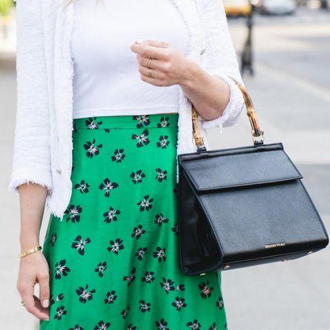 White, Street fashion, Green, Clothing, Fashion, Bag, Handbag, Pencil skirt, Yellow, Waist,