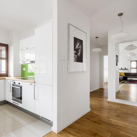 Modern, white apartment