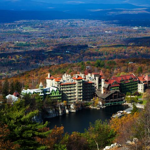 Best All-Inclusive Family Resorts - Mohonk Mountain House elevated view, New Paltz, New York, USA