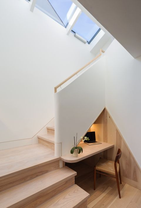 Clever desk area under a staircase by Mole Architects