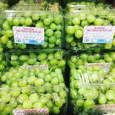 containers of green cotton candy grapes from molina