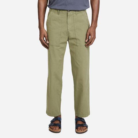 green pants on model
